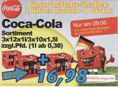 LOKAL - Oldenburg / aktiv irma: 3 Kisten Cola zum Preis von 2 am 09.06. - 1L ab 0,38€.