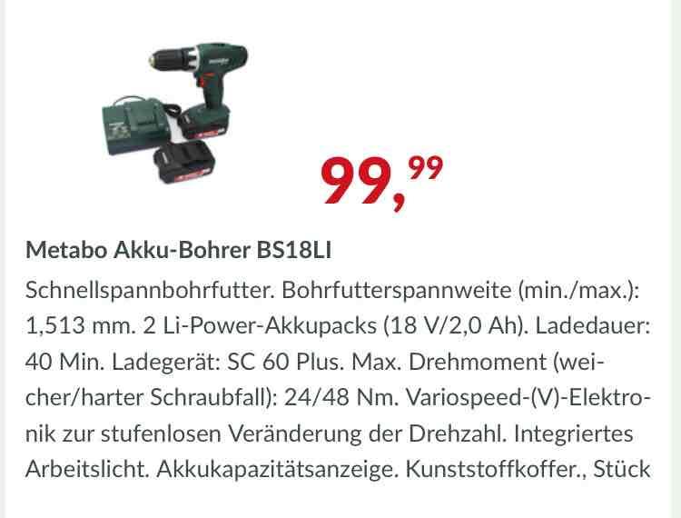 Metabo BS18LI Akku-Bohrer für 99,99€   Marktkauf NRW