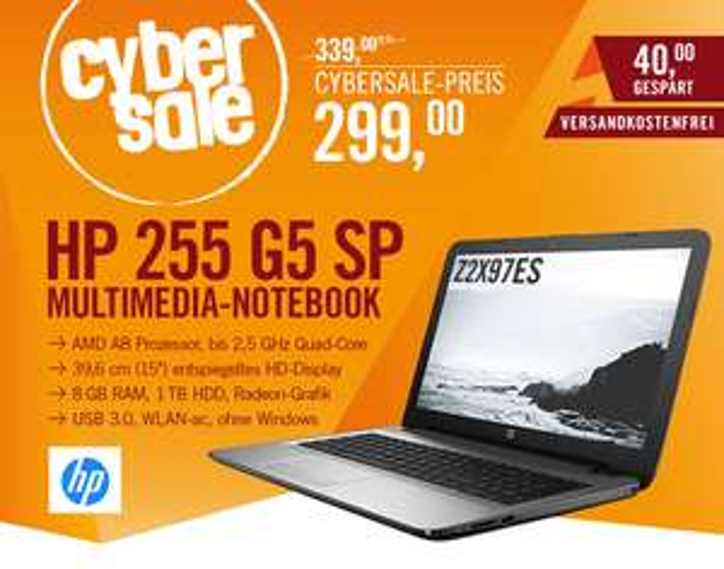 """HP 255 G5 SP Z2X97ES für 299€@ Cyberport - 15,6"""" Notebook mit Quad-Core CPU, 8GB Ram und 1TB HDD"""