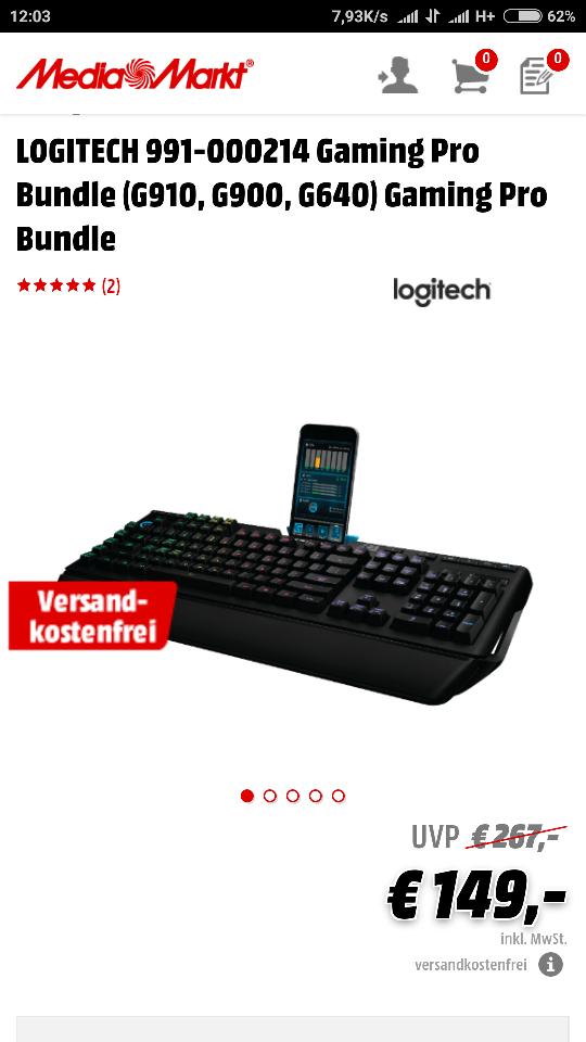 [Mediamarkt/eBay] LOGITECH Gaming Bundle (G910, G900, G640) (Geizhals 252€)