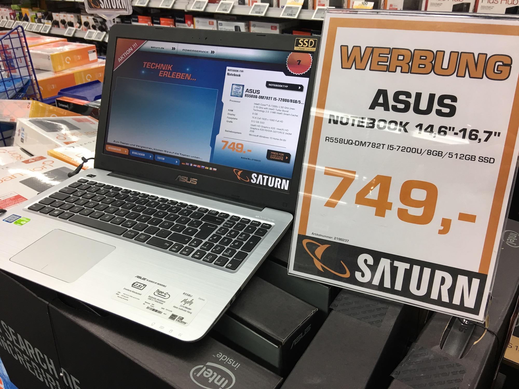 [Lokal Saturn Hansaring] Asus Laptop mit i5-Prozessor, 512GB SSD und 8GB RAM 50€ günstiger