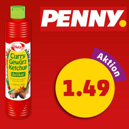 Hela Gewürzketchup 800ml (versch. Sorten) für 1,49€ am Framstag bei Penny