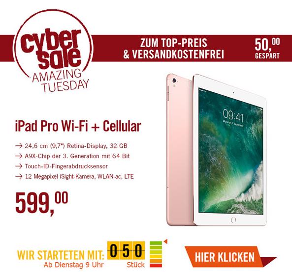"""(Cyberport.de) Cybersale  Apple iPad Pro 9,7"""" Wi-Fi + Cellular 32 GB roségold (MLYJ2FD/A) Apple Apple iPad Pro 9,7 // auch bei NBB"""