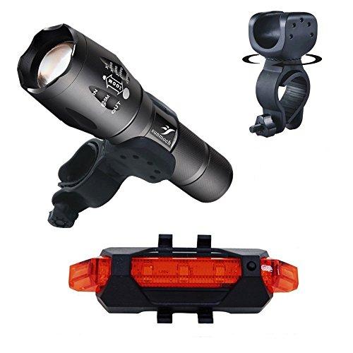 Cree XML-T6 Fahrradlampe mit Halterung und USB-Rücklicht