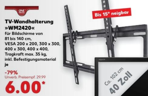 ONE FOR ALL TV-Wandhalterung WM 2420 32 - 55 Zoll (bis 140 cm) bis 35kg VESA für 6 € @ Kaufland bundesweit ab Donnerstag