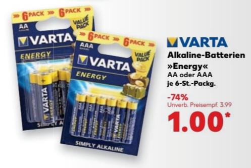 VARTA Energy AA/AAA Batterien 1,00€ / 6 Stück [Kaufland ab 12.01.17 bundesweit]