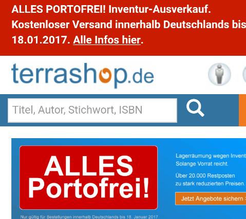 [terrashop.de] Mängelexemplare (Bücher) ab 0,99€ versandkostenfrei bis 18.01.
