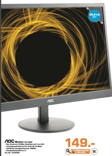 [Saturn] AOC E2770SH, Monitor mit 68.6 cm / 27 Zoll Full-HD Display, 1 ms (Grau zu Grau) Reaktionszeit, Anschlüsse: 1x VGA, 1x DVI-D, 1x HDMI für 149,-€ Versandkostenfrei