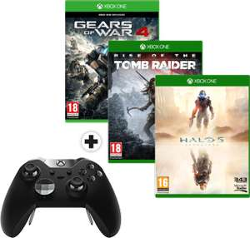 [Mediamarkt.ch - nur Schweiz] Xbox One Elite Controller + Gears of War 4 + Rise of the Tomb Raider + Halo 5 für 120,97€