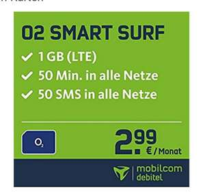 O2 Smart Surf - Aktion, 1GB LTE, 50 Frei Min. & 50 SMS, 2,99€ pro Monat, 24Monate