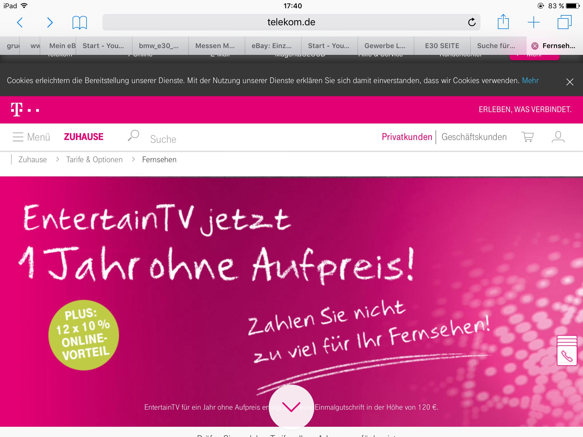 Telekom DSL Vertrag 100MBits & EntertainTVfür 17,96/Monat im 1.Jahr