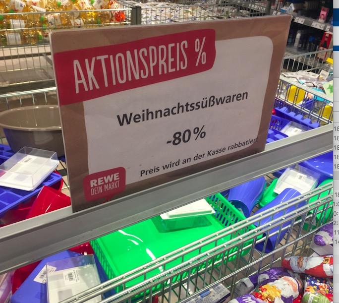 Antizyklisch kaufen: Weihnachtssüßwaren -80% Rewe Chemnitz/Beyerstrasse