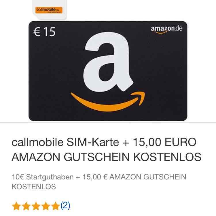 Callmobile Simkarte + Amazon Gutschein (15€) für 2,95€