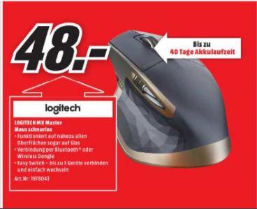 [Lokal Mediamarkt Halle-Peißen] Logitech MX Master kabellose Maus für Windows/?Mac mit Verbindungsmöglichkeiten (Bluetooth, Unifying) für 48,-€