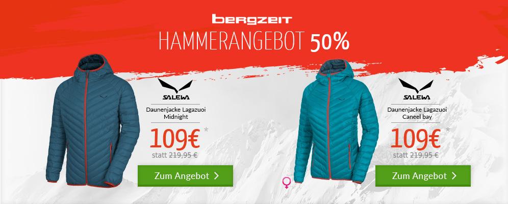 Bis zu 50% Rabatt bei bergzeit.de z.B die Salewa Daunenjacke für 109 Eur