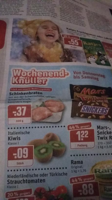 Rewe  Dortmund,(12.01-14.01.17)Kiwi stk 0,09€ Katjes Fruchtgummi oder Lakritze 175g 0,55€