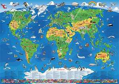 XXL/1,95 Meter - Panorama Kinder Weltkarte (Edition 2012) 138x195cm 13,99.-€