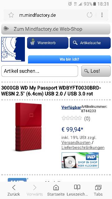 "3000GB WD My Passport WDBYFT0030BRD-WESN 2.5"" (6.4cm) USB 2.0 / USB 3.0 rot"