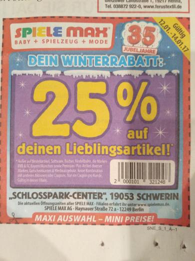 """Spiele Max 25% auf Alles (""""vieles"""")"""