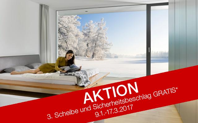 Fenster Doppelaktion - 3. Scheibe & Sicherheitsbeschlag beim Fensterkauf gratis