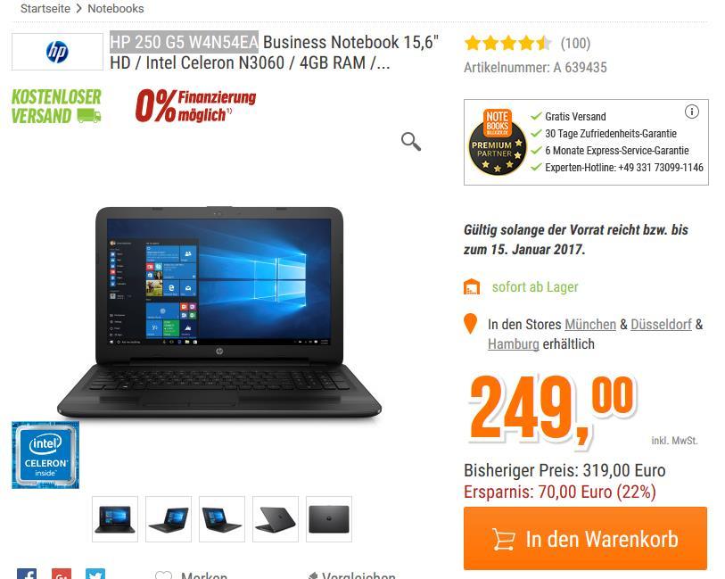HP Notebook HP 250 G5 W4N54EA