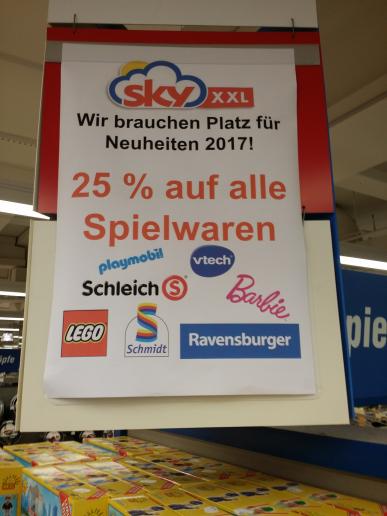 sky märkte - 25% auf Spielwaren - ua. Playmobil, Lego, Schleich