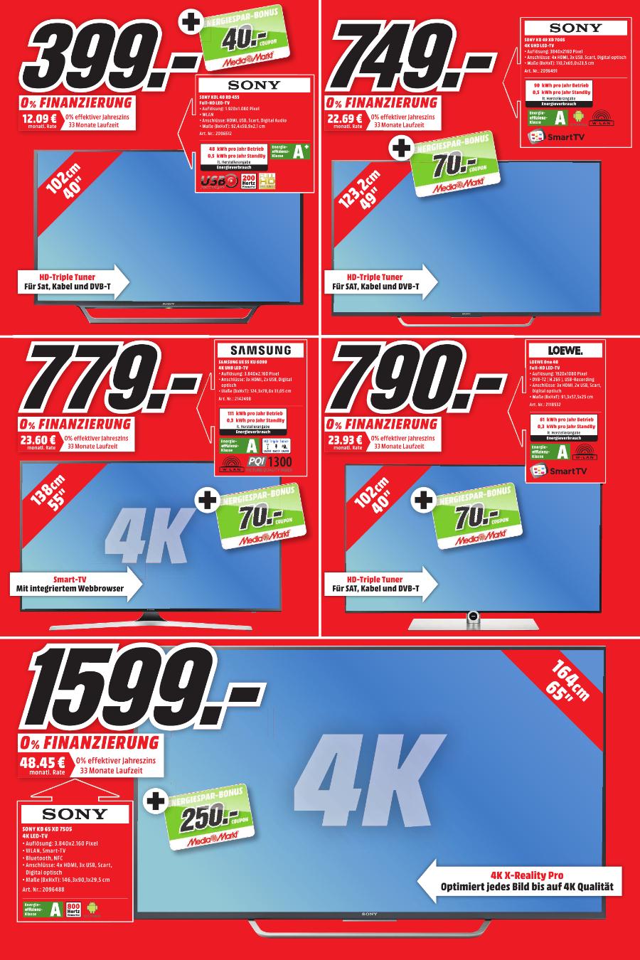 (Lokal Gütersloh)(MediaMarkt) Sony KD65 XD8505BAEP u. diverse andere