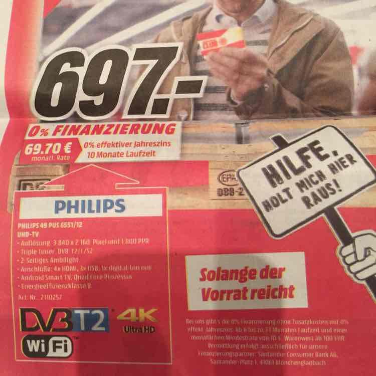 """MediaMarkt Eiche: Philips 49 PUS 6551/12 49"""" 4K Ambilight, 697€"""