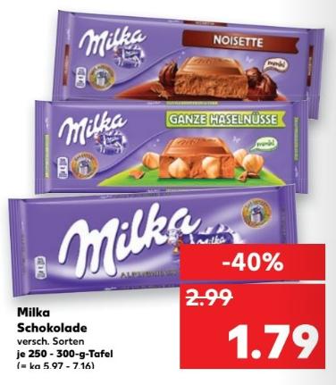 Kaufland ab 19.01 Milka 250-300g Versch. sorten