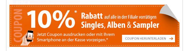 10% Rabatt auf alle CDs bei Müller (heute den 13.1)
