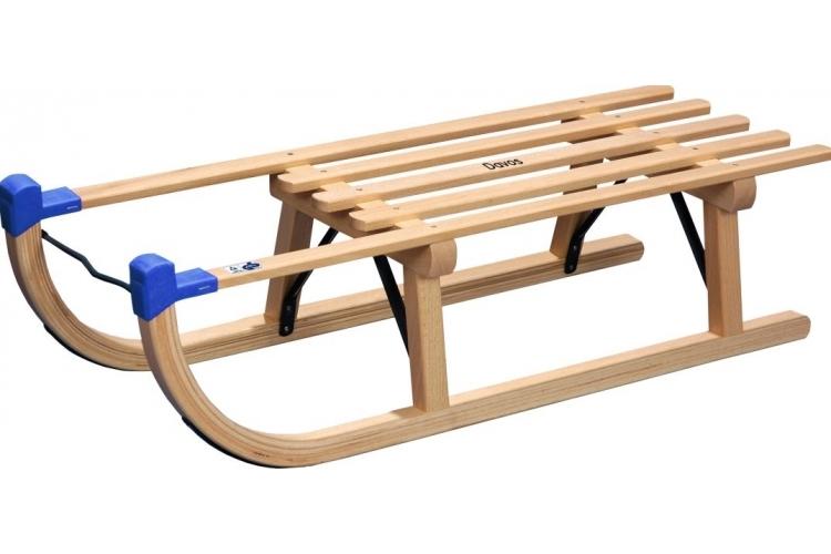 Holzschlitten Davos Buche-Hartholz, 90 cm mit Metallstreben verstärkt