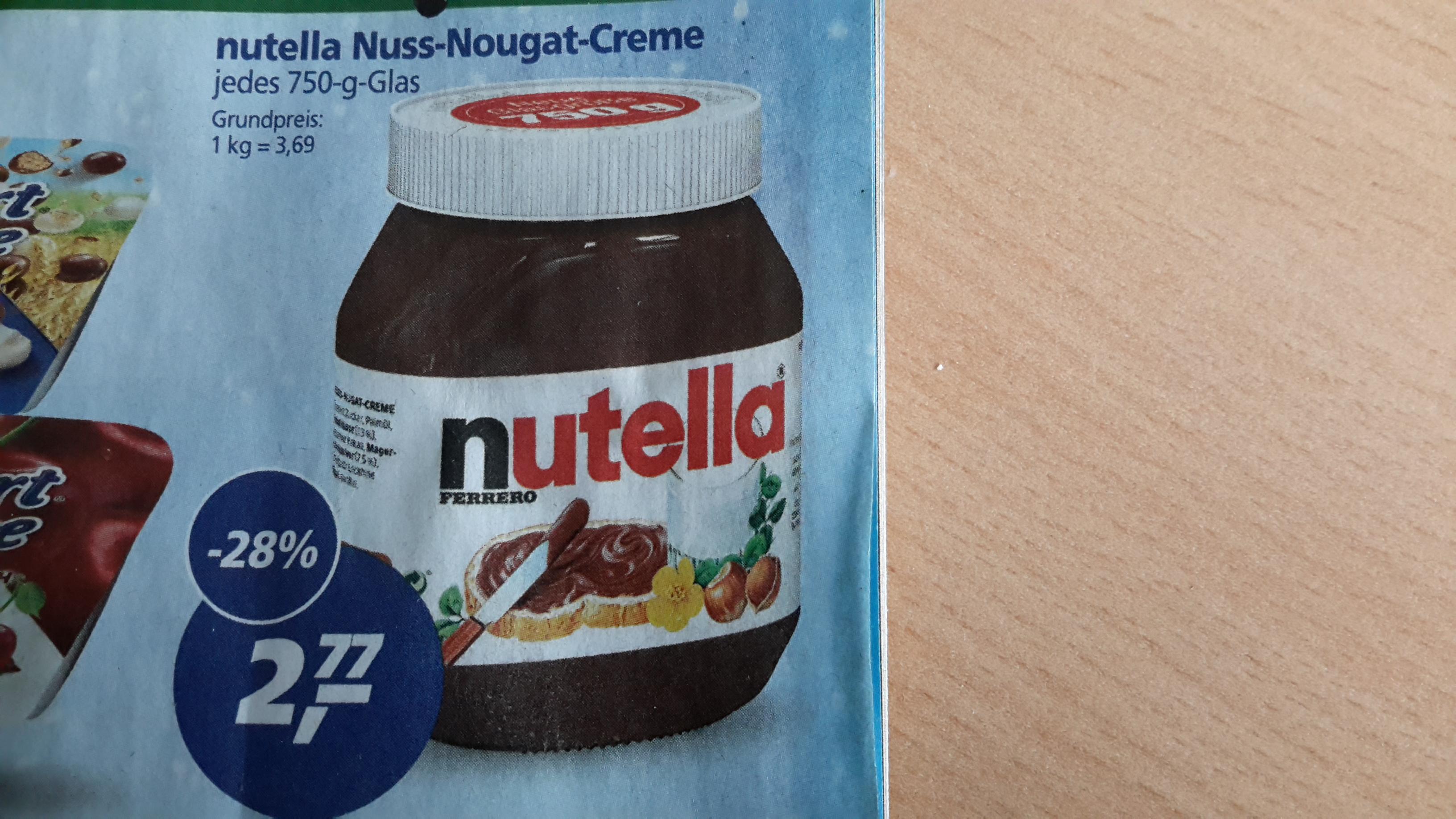 [Real] Nutella 750 Gramm für 2,77 € ab 16.01.17
