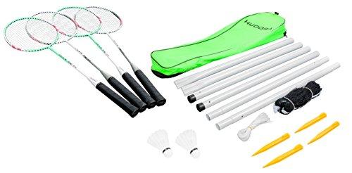 [Amazon Prime] HUDORA Badmintonset Team HD-44, 76413 (4 Schläger, 2 Kork-Federbälle, 1 Netz (610 x 60 cm) 4 Heringe)