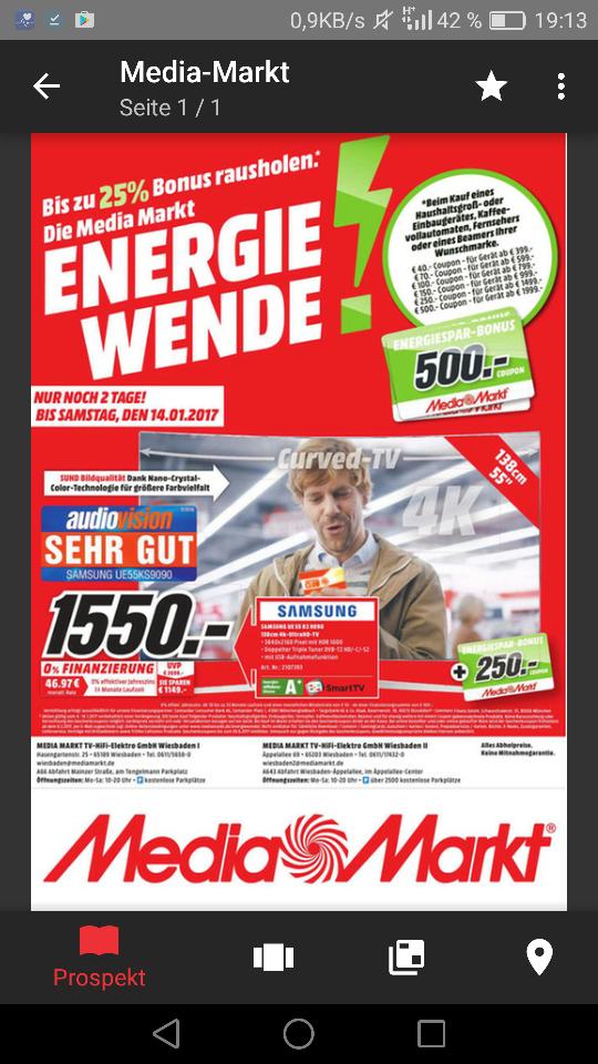 (Lokal Wiesbaden) [Media Markt] Samsung UE55KS9090 für 1550 € + 250 € Coupons