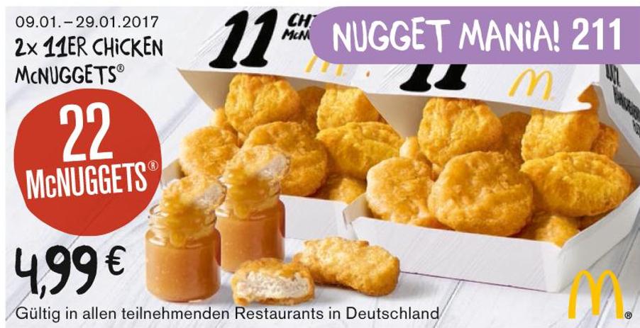 McDonalds Counterattack mit neuem Chicken McNugget 22er Coupon für 4,99 Euro (9 Stück für 2,04 Euro & 4 Dips) und damit originale Chicken Nuggets!