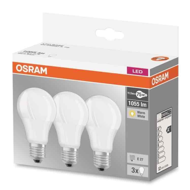 3er Pack Osram LED (einfarbig) 230 V E27 10.5 W = 75 W Warmweiß EEK: A+ Glühlampenform für 9,99€