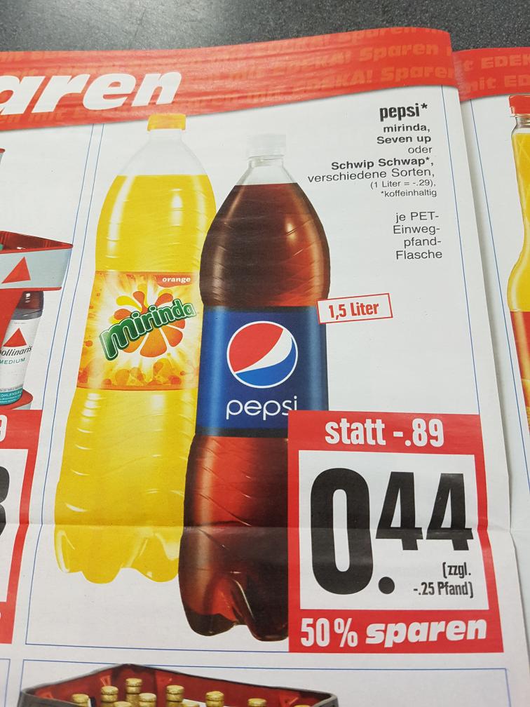(Edeka Nordhessen) Pepsi, Schwip Schwap, Mirinda, Seven Up nur 0,44€ je 1,5L