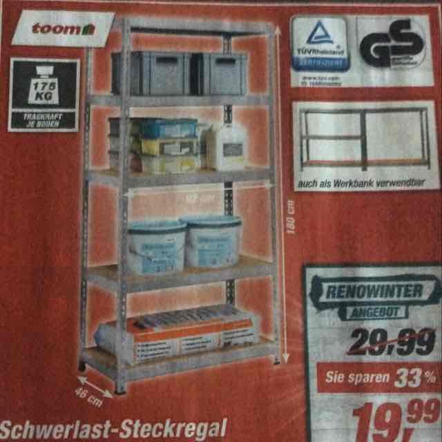 [Toom] Schwerlast-Steckregal pro Boden 175Kg Tragkraft(PLZ64319-65933) ggf. Bundesweit