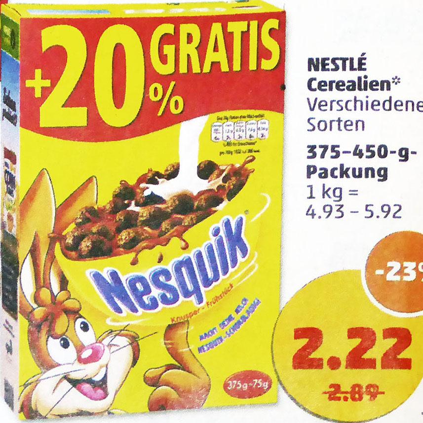 Nestlé Cerealien 23% billiger und zusätzlich 20% mehr Inhalt für nur 2,22€ @Penny