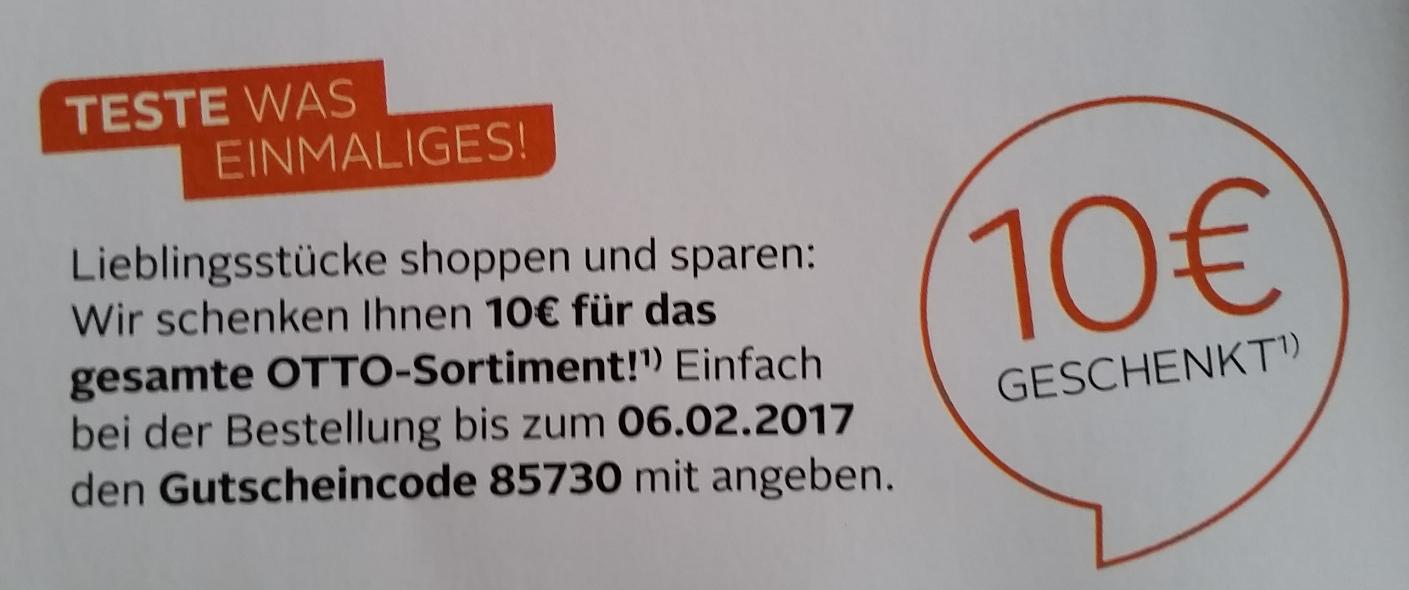 OTTO.DE 10€ Coupon mit 10€ MBW Freebie möglich [Personengebunden]