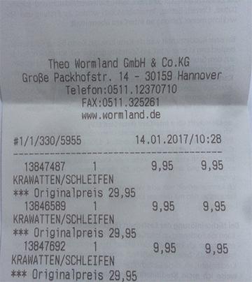 [Lokal Wormland Hannover]  Theo Wormland (Eigenmarke) Krawatten im Ausverkauf für 9,95 € statt 29,95 €