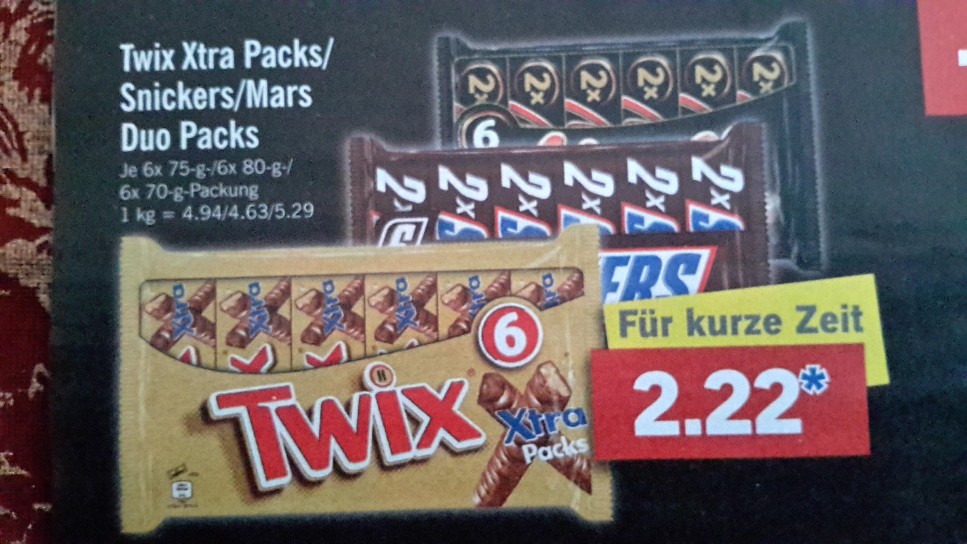[Lidl] Twix Xtra Packs / Snickers Duo Packs / Mars Duo Packs je 6 Stück für 2,22 € am 21.01.17