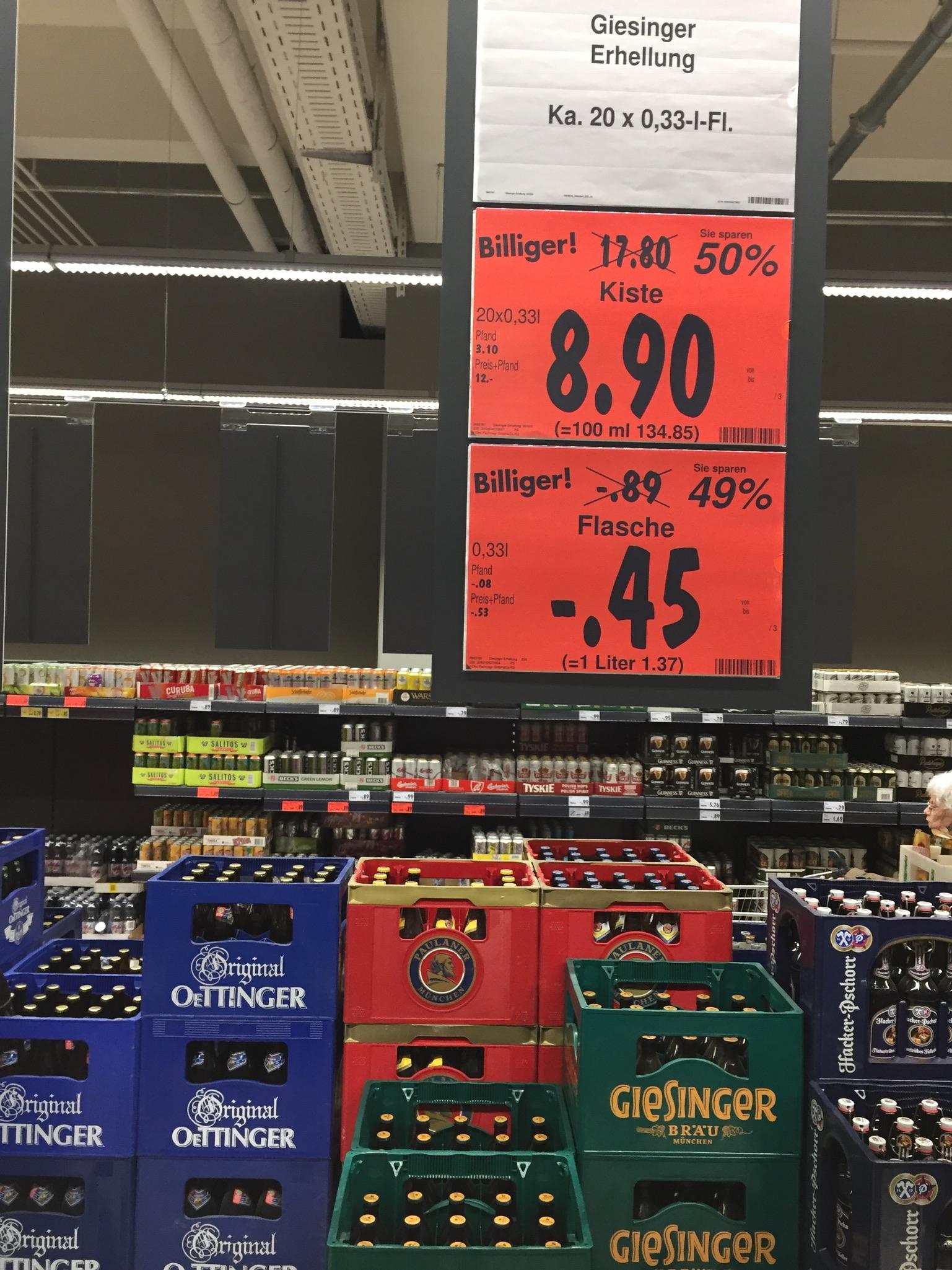 [Kaufland München PEP] Giesinger Erhellung 20 x 0,33 - MHD 02/2017 - 50% reduziert!