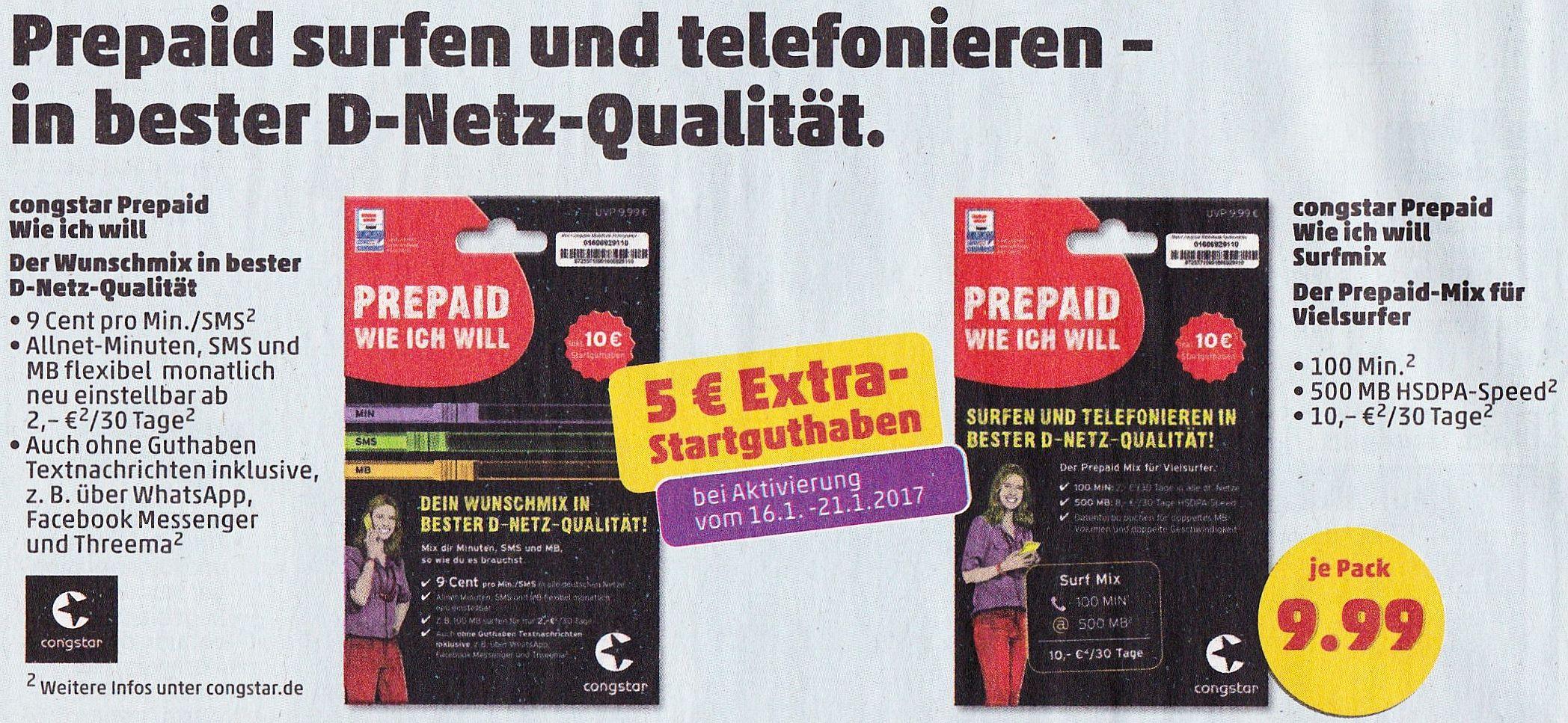 Penny congstar Prepaid Wie ich will 5€ extra Startguthaben