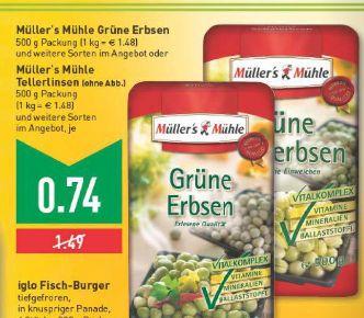 [Edeka / Marktkauf Rhein-Ruhr] Müller´s Mühle Erbsen, Linsen etc. 500g für 0,74€ (statt 1,49€)