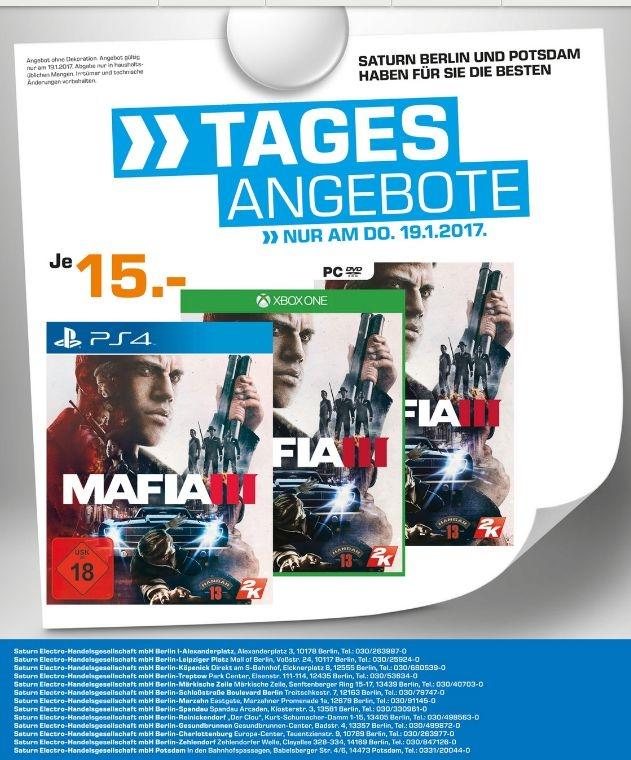 Lokal: Saturn Berlin & Potsdam Mafia III PS4, XBox One, PC nur am 19.01.17 für 15€