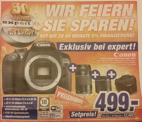 Canon EOS 1300D Kit mit Objektiv 18-55, 75-300, Tasche, Speicherkarte
