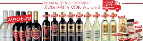 15 Flaschen ital. Wein + 6 Spezialitäten nur 49,70 inkl. Versand