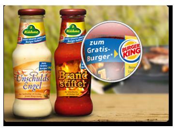 Kühne Soße kaufen und Long Chili Cheese oder Grilled Chicken Classic gratis bei Burger King bekommen!