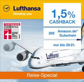 (Shoop) Lufthansa: 1,5% Cashback + 20€ Amazon Gutschein